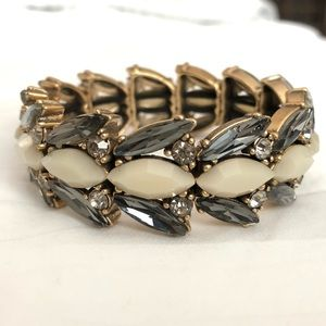 J. Crew grey and cream stone elastic bracelet